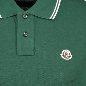 Moncler Twin Tip Cotton Polo Green - chancefashionco