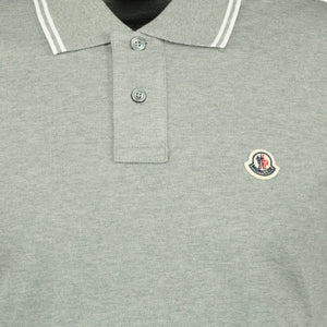 Moncler Twin Tip Cotton Polo Grey - chancefashionco