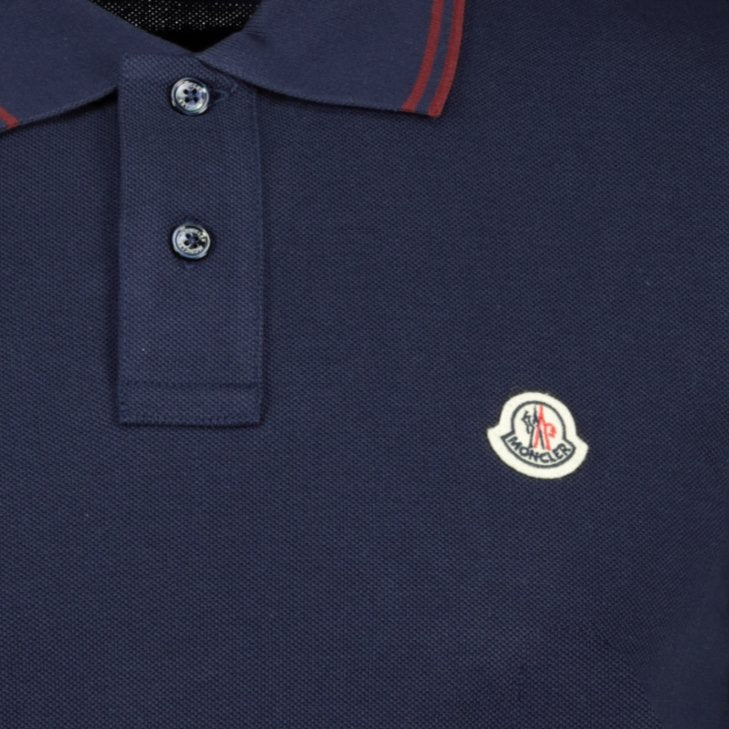 Moncler Twin Tip Cotton Polo Navy - chancefashionco