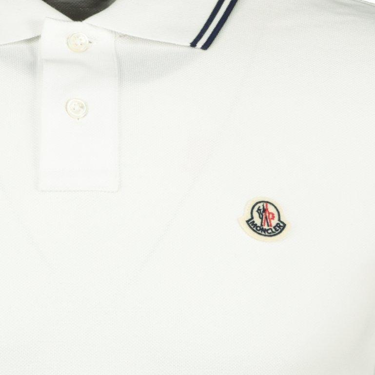 Moncler Twin Tip Cotton Polo White - chancefashionco