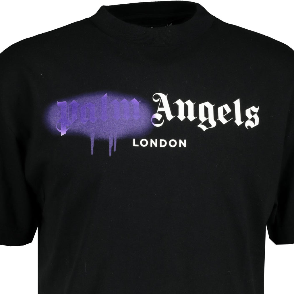 Palm Angels London Spray Paint T-Shirt Black - chancefashionco