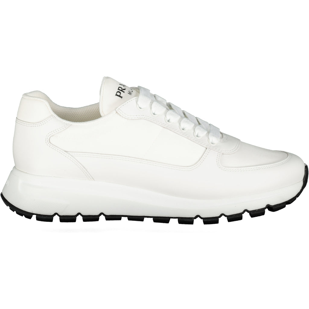 Prada All White Leather & Nylon Runners - chancefashionco