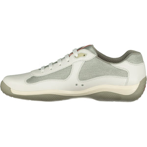 Prada Americas Cup White And Silver Mesh Trainers - chancefashionco