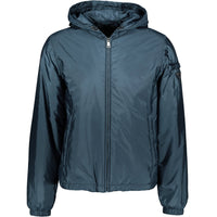 Prada Nylon Hooded Down Jacket Blue - chancefashionco