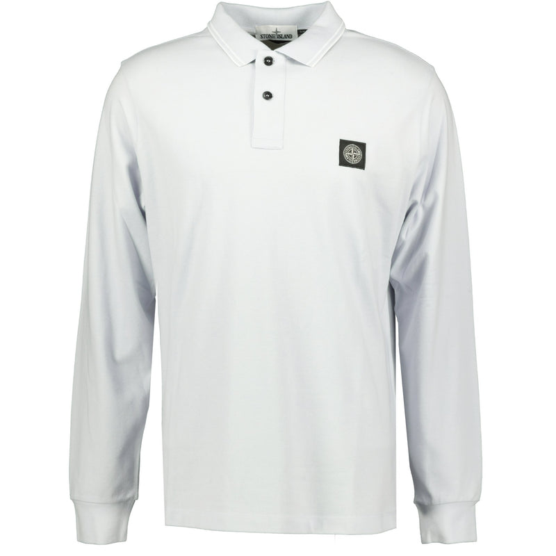 Stone Island Compass Logo Long Sleeve Polo Light Blue - chancefashionco