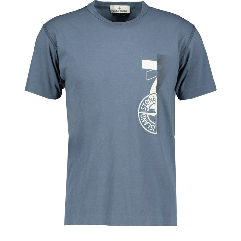 Stone Island Compass Logo Printed T-Shirt Blue - chancefashionco