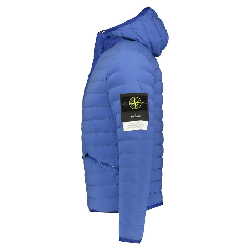 Stone Island Loom Woven Down Jacket Blue - chancefashionco