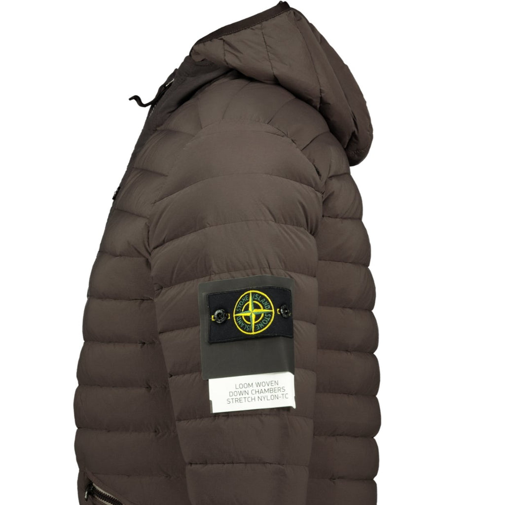 Stone Island Loom Woven Down Jacket Brown - chancefashionco
