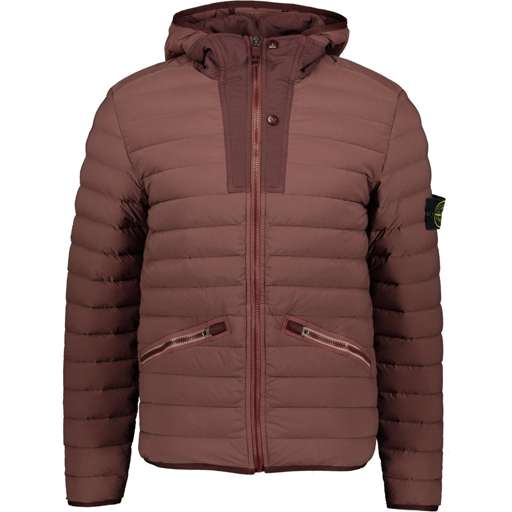 Stone Island Loom Woven Down Jacket Maroon - chancefashionco