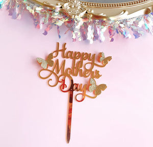 Happy Mother's Day Cake Topper Best Mom Ever Cake topper Acrylic Cake topper Decorative Party Cake Decoration for Mother's Day(butterfly)