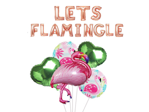 18 pcs Flamingo Party Decorations - Pack of 18, Tropical Party Lets Flamingo Balloon Banner, Hawaiian Beach Supplies Kit