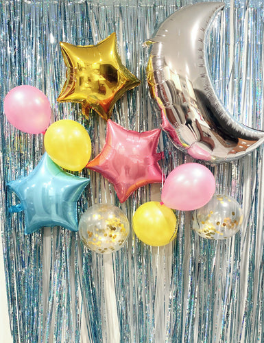 Giga Gud 24 pcs Foil Moon Balloons Set,Star Balloon and Latex Balloon Perfect for Birthday Party Baby Shower Decoration (24 pcs) (Blue-Pink-Gold Set Moon )