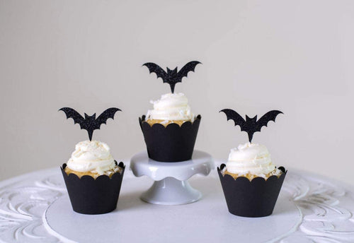 Halloween Bat Cupcake Toppers Cupcake Liners Bat 48 Pack Cupcake Holder muffin Case Trays for Halloween, Birthday, Decoration Party Supply(48pcs)