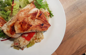 Pan fried Chicken Breast with Mediterranean Couscous