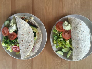 Roasted vegetable wrap with mozzarella salad