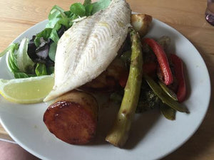 Pan fried Fish with grilled mixed vegetables