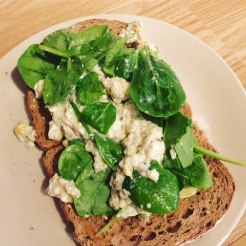 Scrambled Egg with Fresh Spinach on Wholemeal Toast