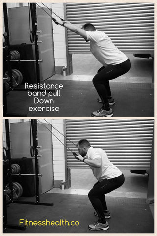 Resistance band pulldown exercise