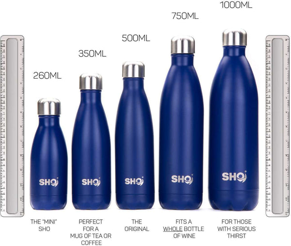 SHO Bottle - Ultimate Insulated, Double Walled Stainless Steel Vacuum Flask & Water Bottle - 12 Hours Hot & 24 Hours Cold - 260ml