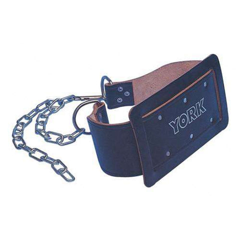 York Leather Weight Dipping Belt with Chain - Fitness Health