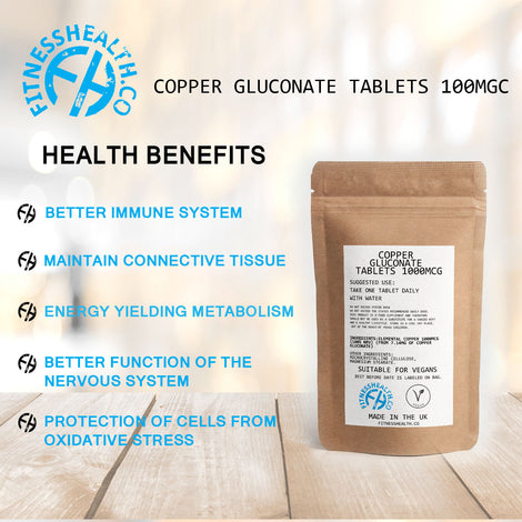 Copper Gluconate Tablets Vegan Friendly Immune system Support 60 tabs