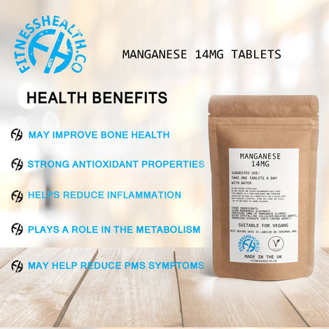 Manganese 14mg Tablets x60 - High Strength Energy Production Bone Joint Support