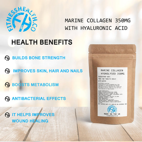 Marine Collagen 350mg with Hyaluronic acid Vitamin C and Vitamin E 60 Capsules