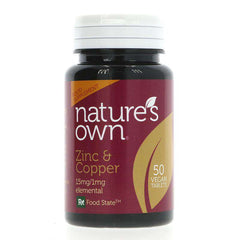 Natures Own Zinc/Copper - 50 Vegan Tablets
