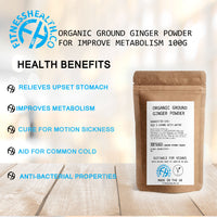 Organic Ground Ginger Powder for Improve Metabolism 100g