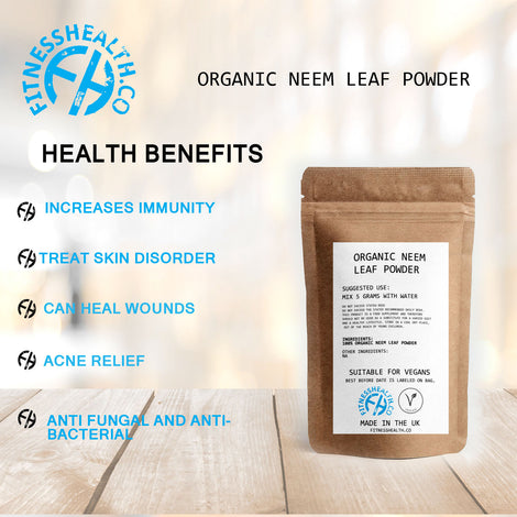Organic Neem Leaf Powder 100g for Clear Complexion & Healthy Skin, Hair, Blood, Lymph and Liver