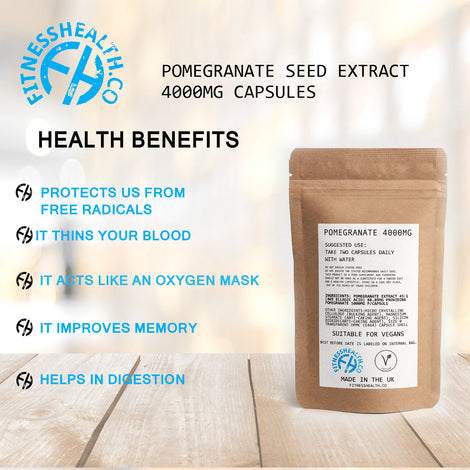 Pomegranate Seed Extract 4000mg Capsules Vegan Friendly Superfood