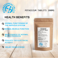 Potassium Tablets 200mg Vegan Friendly x 60 Tabs