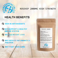 Rosehip 2000mg High Strength Easy Swallow 60 Capsules + VIT C
