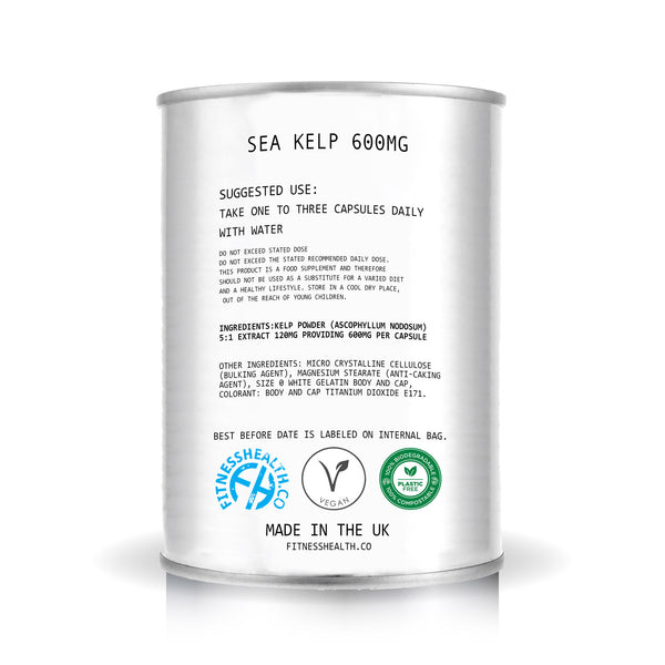 Sea Kelp 60 Tablets in Can HIGH Strength 600mg Iodine Thyroid Gluten Free