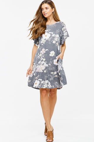 charcoal-grey-floral-print-ruffle-short-