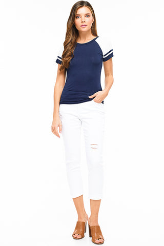 navy-blue-color-block-striped-short-slee