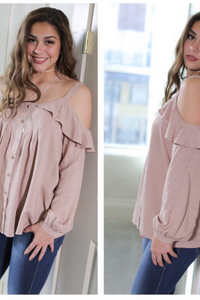 Cold-Shoulder Button Top