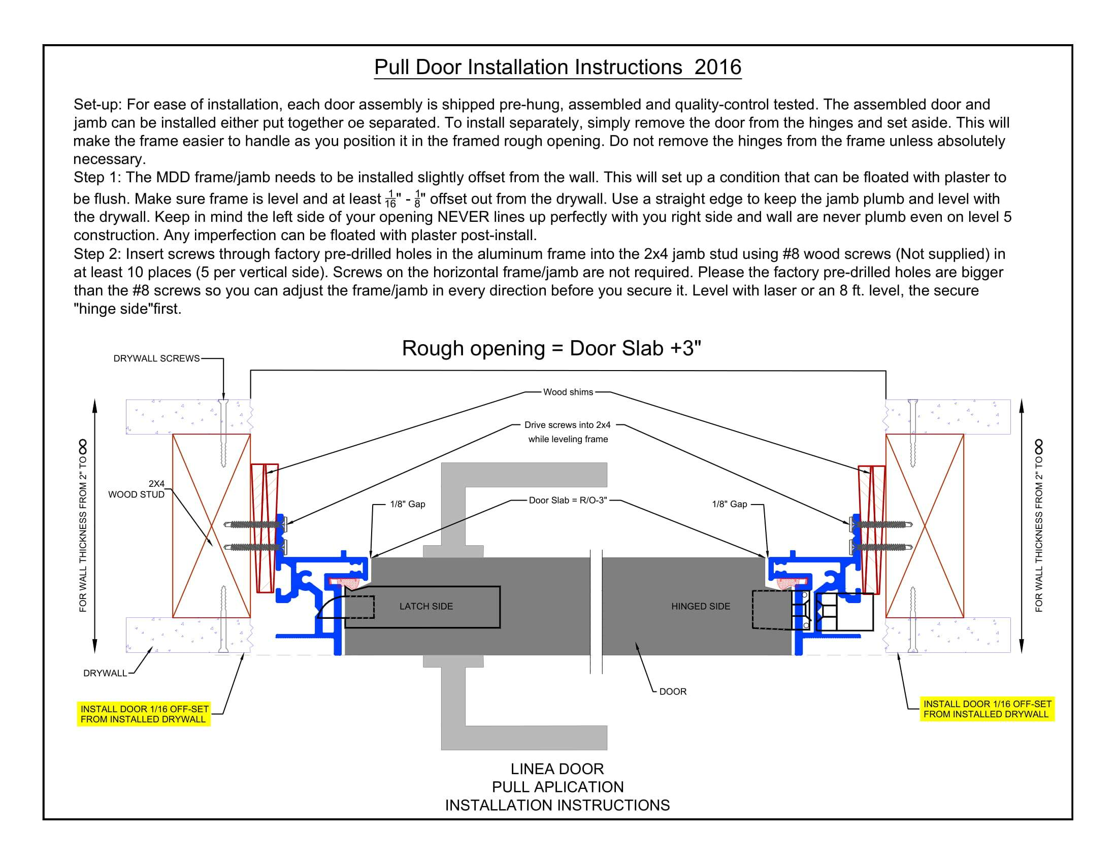 Pull Door Installation Instructions 2018