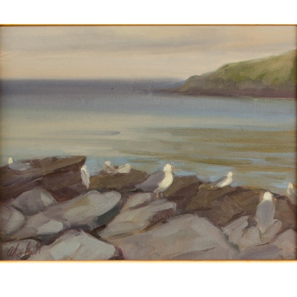 Seagulls on the Rocks by Alison Hill