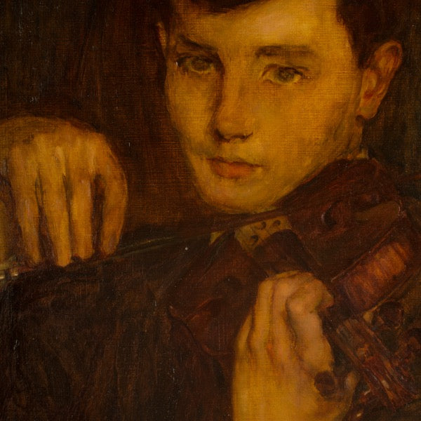 Boy with Violin by Leonard Watts