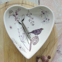 Heart Shaped Trinket Dish - Blackbirds Design