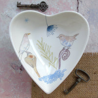 Heart Shaped Trinket Dish - Blue Blackbirds Design.