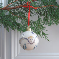 Bone China Barn Owl Christmas Bauble