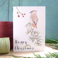 A6 Happy Christmas Waxwing card