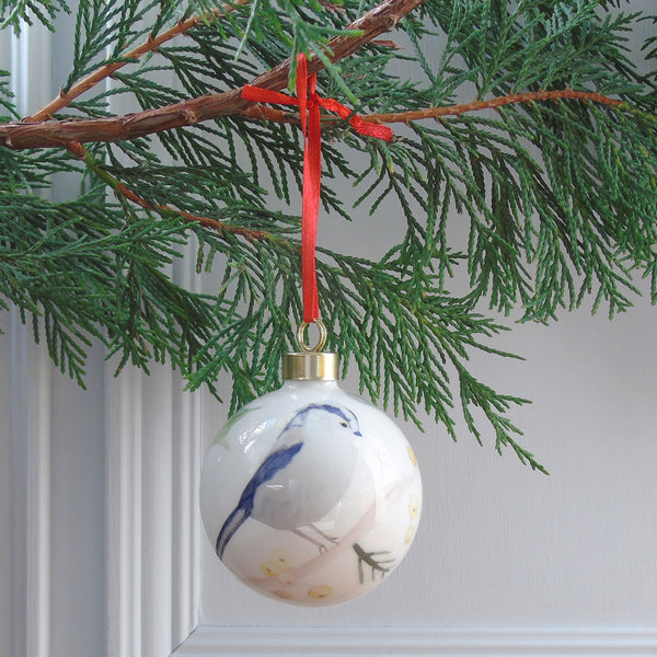 Bone China Christmas Bauble - long tailed -tit upright design