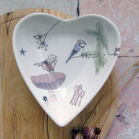 Heart Shaped Trinket Dish - Coal tit and Snail Design.
