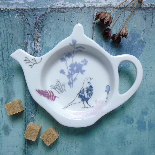 Teabag Tidy - purple blackbird