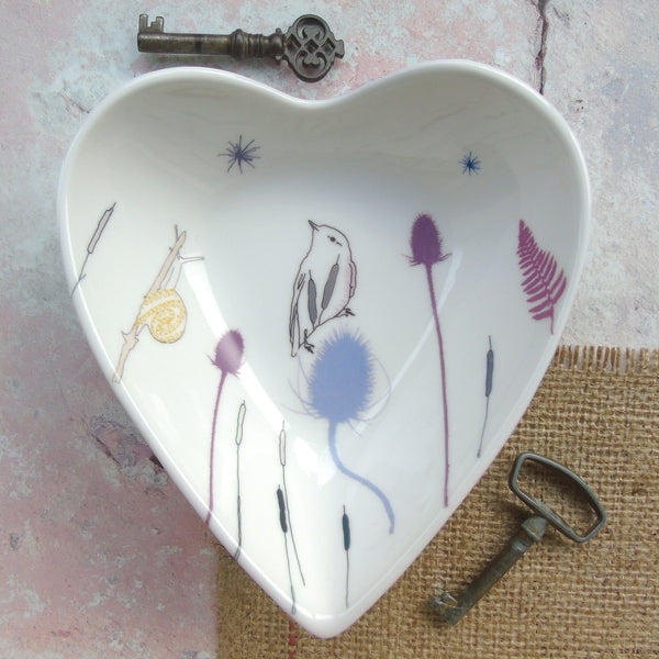 Heart Shaped Trinket Dish - Willow warbler Design