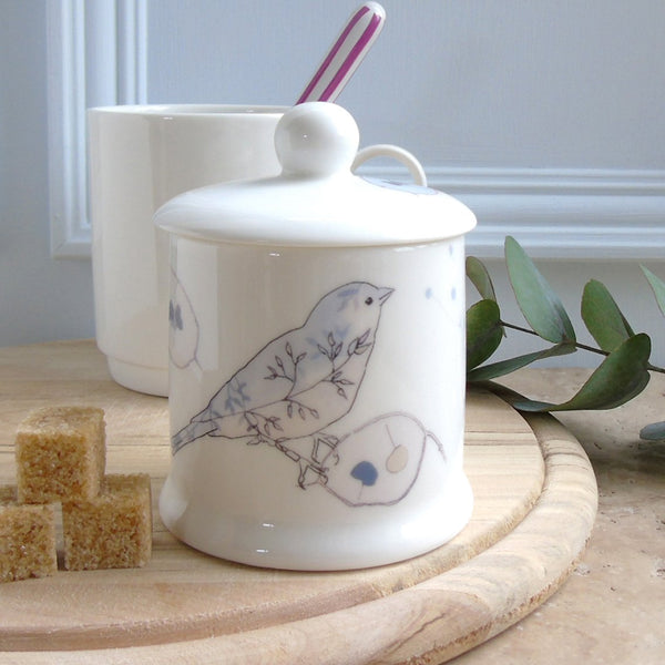 Honesty and Chaffinch Sugar/Jam Pot with Lid