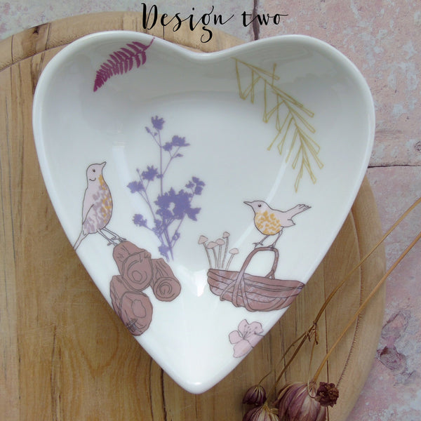 Heart Shaped Trinket Dish - Songthrush Design.
